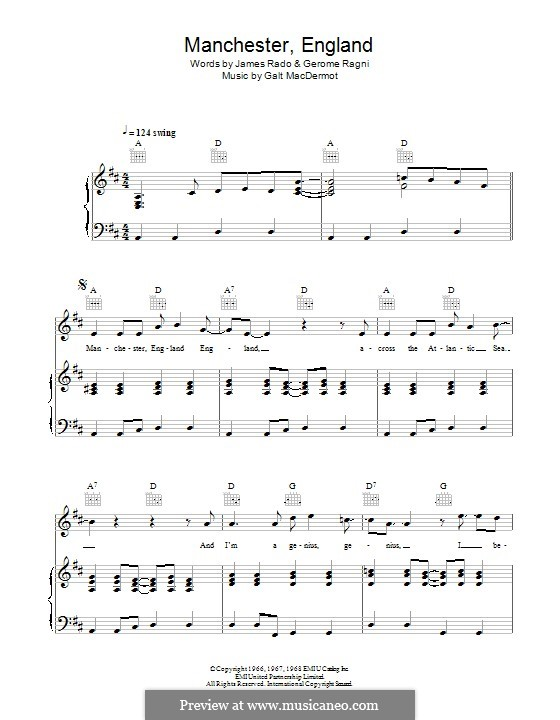 Manchester England: For voice and piano (or guitar) by Galt MacDermot