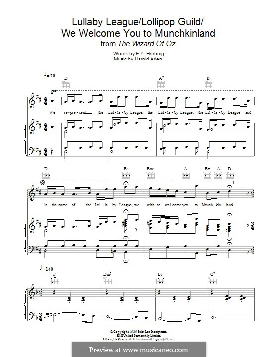 Lullaby League/Lollipop Guild/We Welcome You To Munchkinland (from The Wizard of Oz): For voice and piano (or guitar) by Harold Arlen