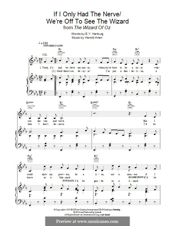 If I Only Had the Nerve / We're Off To See the Wizard (from The Wizard of Oz): For voice and piano (or guitar) by Harold Arlen