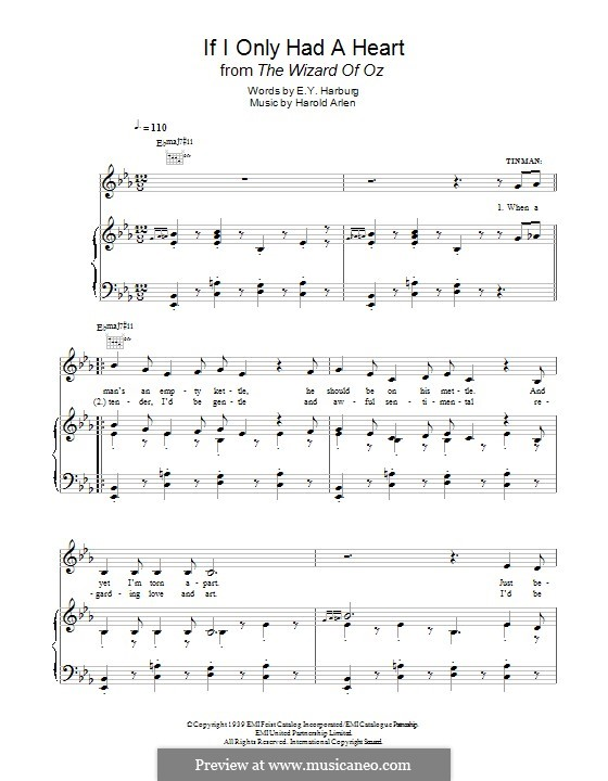 If I Only Had a Heart (from The Wizard of Oz): For voice and piano (or guitar) by Harold Arlen