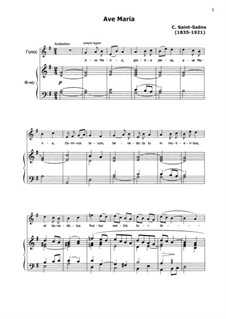 Ave Maria for Voice and Organ: Version for voice and piano by Camille Saint-Saëns