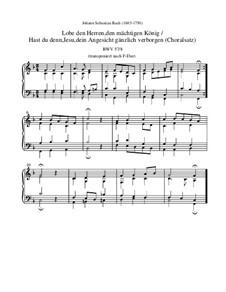 Lobe den Herren, den mächtigen König der Ehren, BWV 137: Choralsatz, F-Dur by Johann Sebastian Bach