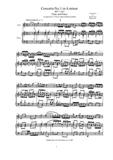 Concerto for Violin, Strings and Basso Continuo No.1 in A Minor, BWV 1041: Arrangement for flute and piano by Johann Sebastian Bach