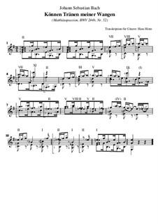 Part II: No.52 Können Tränen meiner Wangen, für Gitarre by Johann Sebastian Bach
