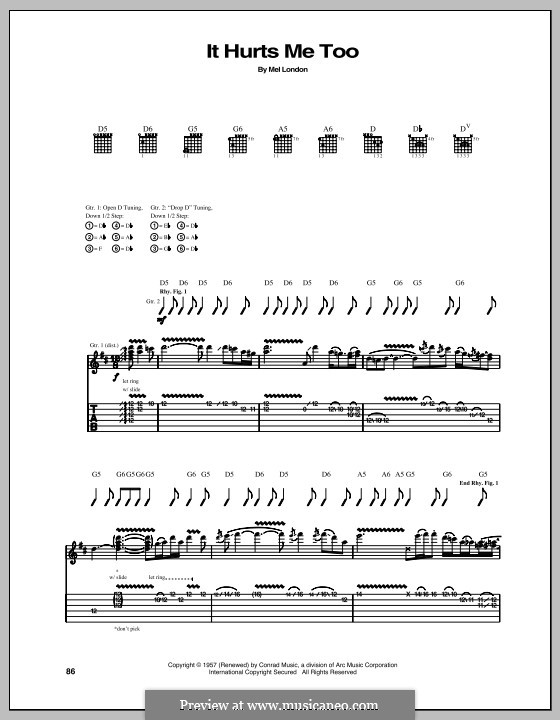 It Hurts Me Too: For guitar with tab by Mel London