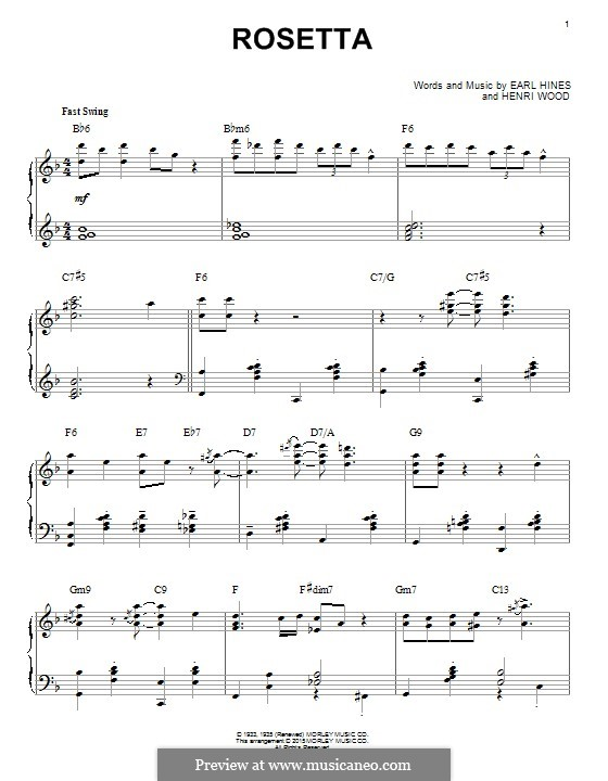 Rosetta: For piano by Henri Woode, Earl Hines