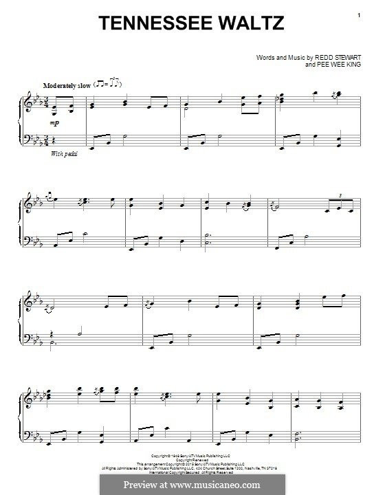 Tennessee Waltz (Patty Page): For piano by Pee Wee King, Redd Stewart