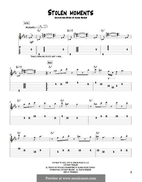 Stolen Moments: For guitar with tab by Oliver Nelson