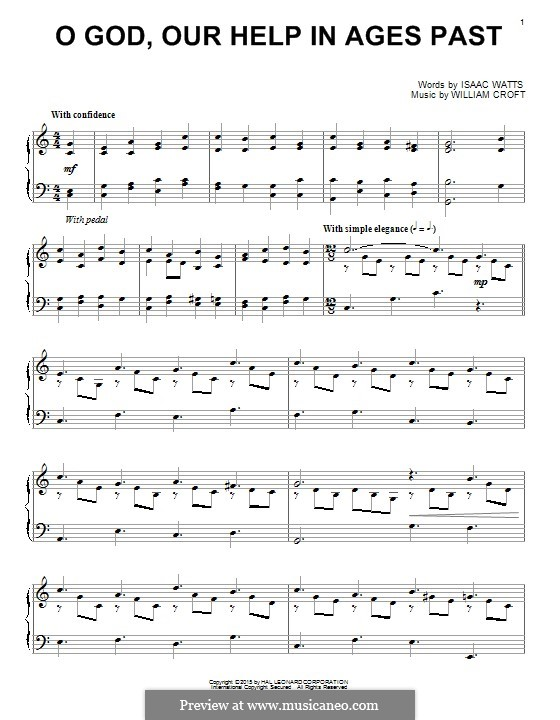 O God, Our Help in Ages Past: For piano by William Croft