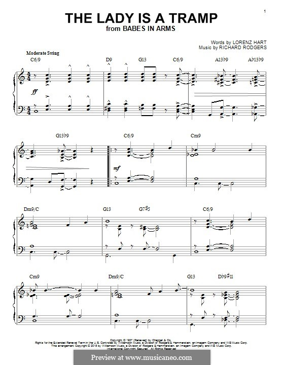 The Lady is a Tramp (Frank Sinatra): For piano by Richard Rodgers