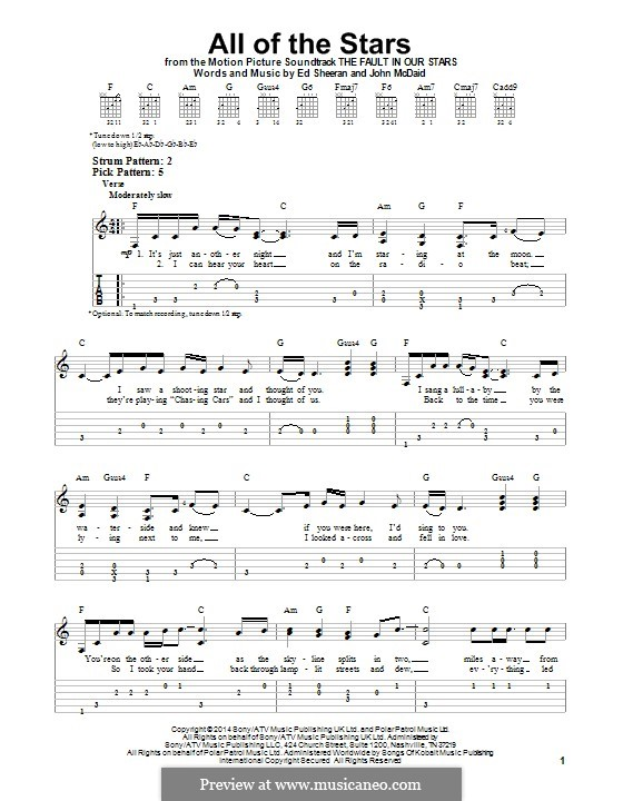 All of the Stars: For guitar with tab by Ed Sheeran, John McDaid