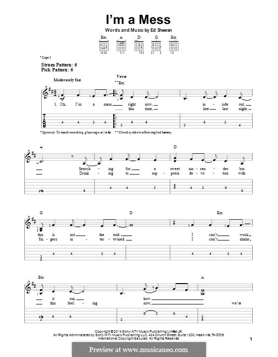 I'm a Mess: For guitar with tab by Ed Sheeran