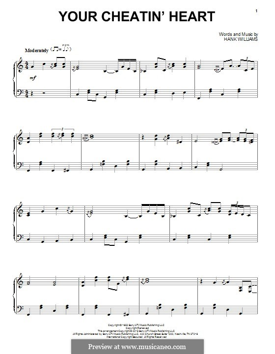 Your Cheatin' Heart: For piano by Hank Williams