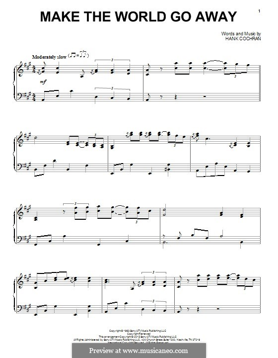 Make the World Go Away (Eddy Arnold): For piano by Hank Cochran