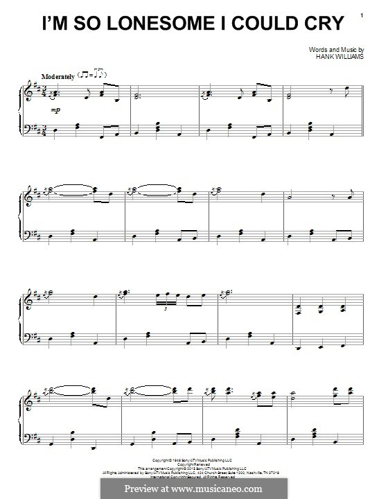 I'm So Lonesome I Could Cry: For piano by Hank Williams