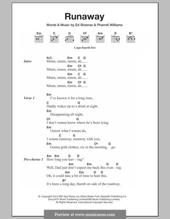 Runaway: Lyrics and chords by Ed Sheeran, Pharrell Williams