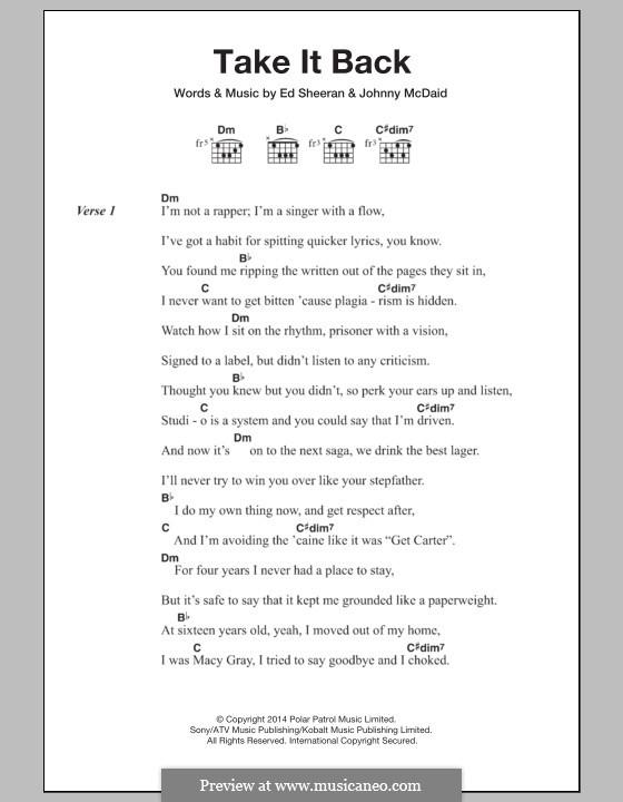 Take It Back: Lyrics and chords by Ed Sheeran, John McDaid