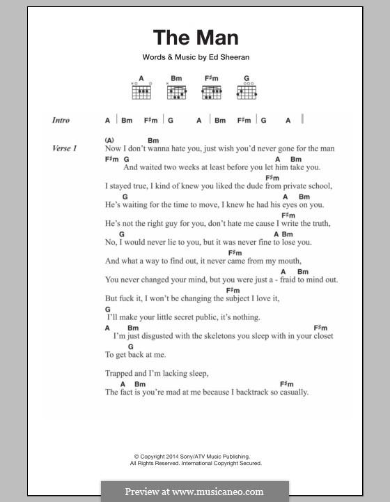 The Man: Lyrics and chords by Ed Sheeran