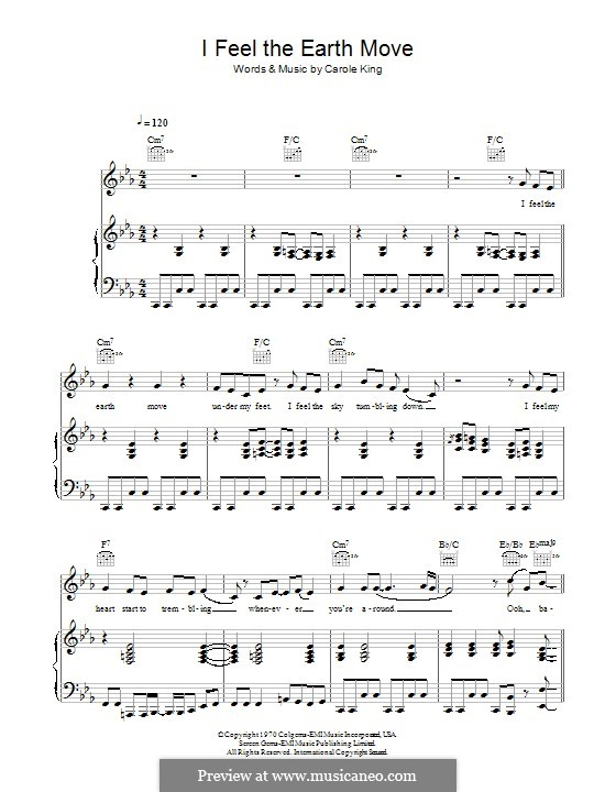 I Feel the Earth Move: For voice and piano (or guitar) by Carole King