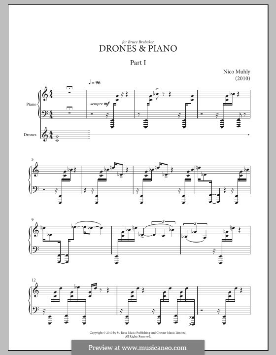 Drones and Piano: For piano by Nico Muhly