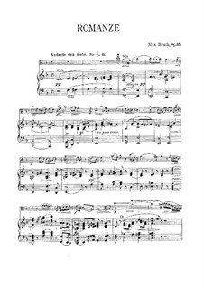 Romance for Viola and Orchestra, Op.85: Version for viola and piano – score by Max Bruch