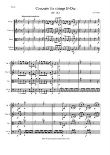 Concerto for Strings in B Flat Major, RV 163: Score and parts by Antonio Vivaldi
