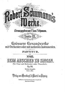 Beim Abschied zu singen, Op.84: Partitur by Robert Schumann