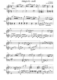 Adagio in G Minor: For piano by Tomaso Albinoni