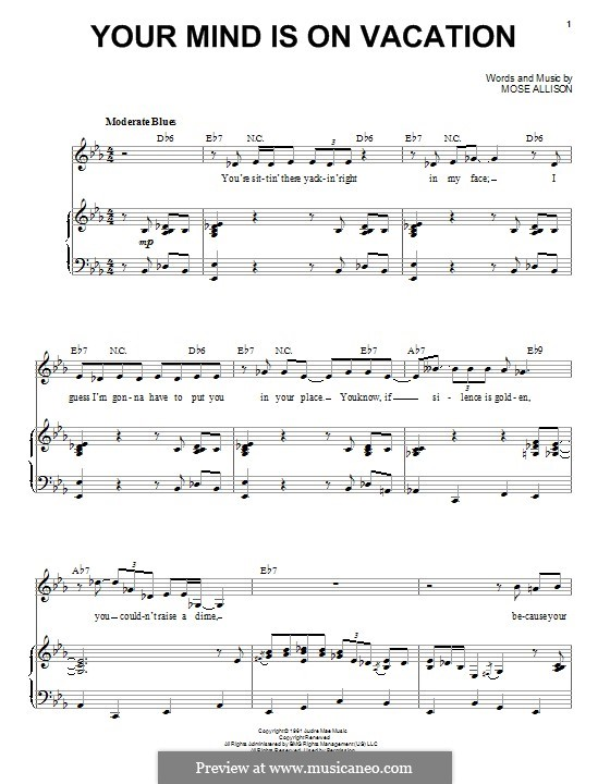 Your Mind Is on Vacation (Van Morrison): For voice and piano by Mose Allison