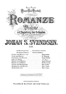 Romance, Op.26: For violin (or flute) and piano – score, solo part by Johan Svendsen