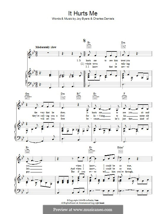 It Hurts Me (Elvis Presley): For voice and piano (or guitar) by Charlie Daniels, Joy Byers