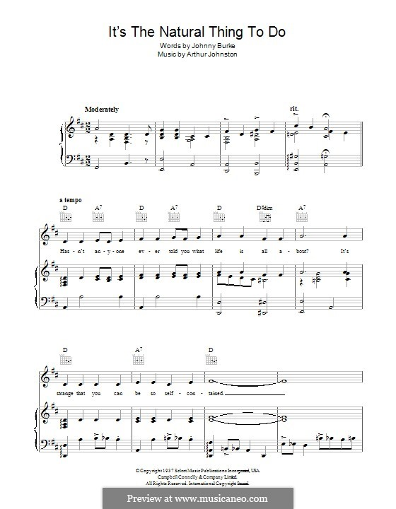 It's the Natural Thing To Do: For voice and piano (or guitar) by Arthur Johnston