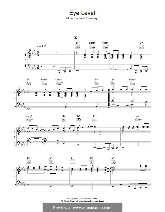 Eye Level (theme from Van der Valk): For piano by Jack Trombey
