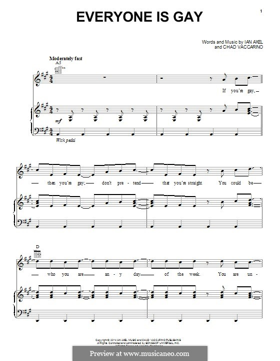 Everyone Is Gay (A Great Big World): For voice and piano (or guitar) by Ian Axel, Chad Vaccarino