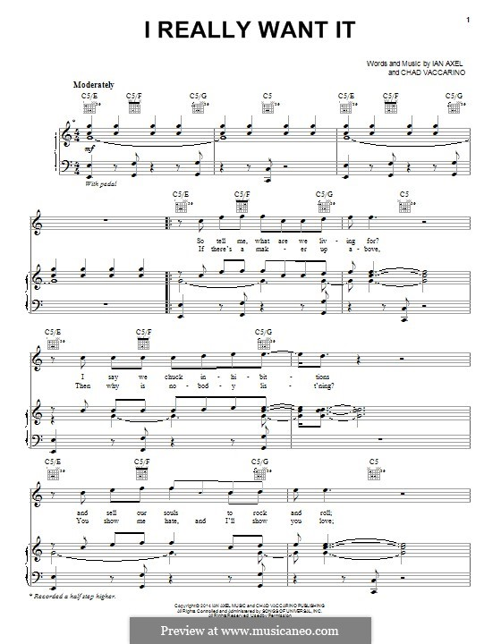 I Really Want It (A Great Big World): For voice and piano (or guitar) by Ian Axel, Chad Vaccarino