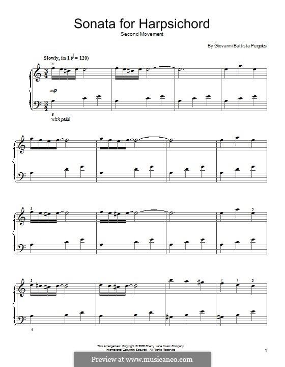 Sonata for Harpsichord: Andantino Espressivo. Version for piano by Giovanni Battista Pergolesi