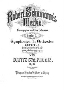 Symphony No.3 in E Flat Major 'Rhenish', Op.97: Full score by Robert Schumann
