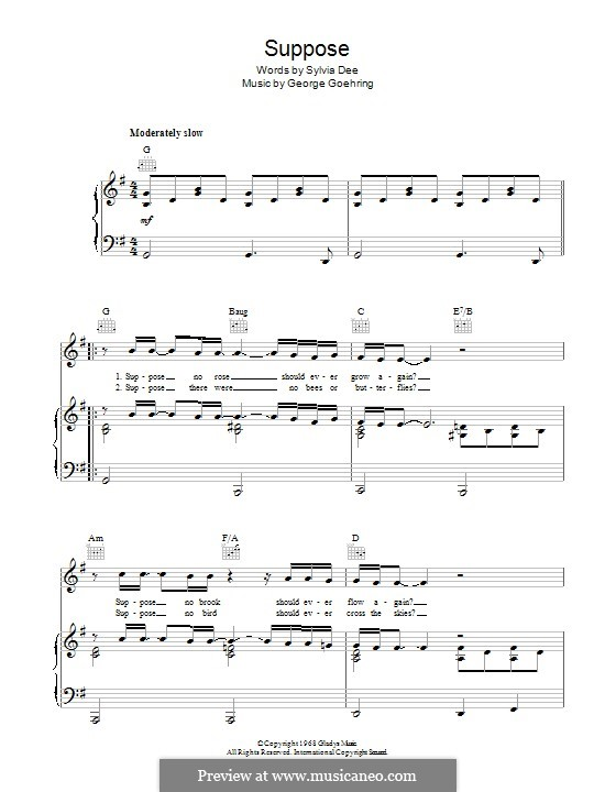 Suppose (Elvis Presley): For voice and piano (or guitar) by George Goehring