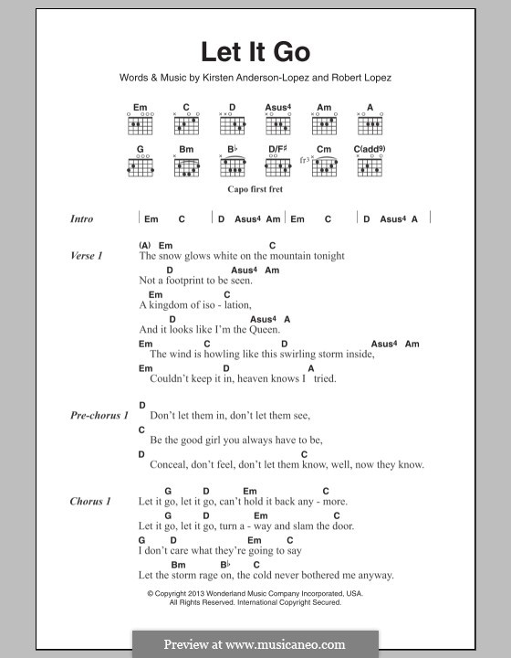 Let It Go (from Frozen): Lyrics and chords by Robert Lopez, Kristen Anderson-Lopez