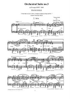 Aria: Version for piano by Johann Sebastian Bach