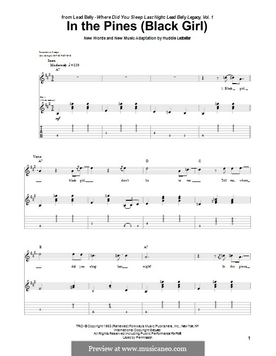 In the Pines (Black Girl): For guitar with tab by Huddie Ledbetter