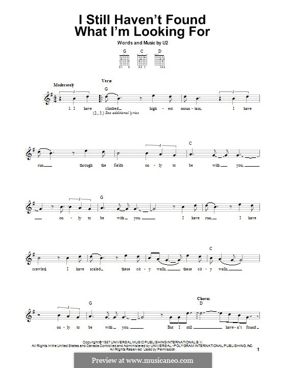 I Still Haven't Found What I'm Looking for: For guitar with tab by U2