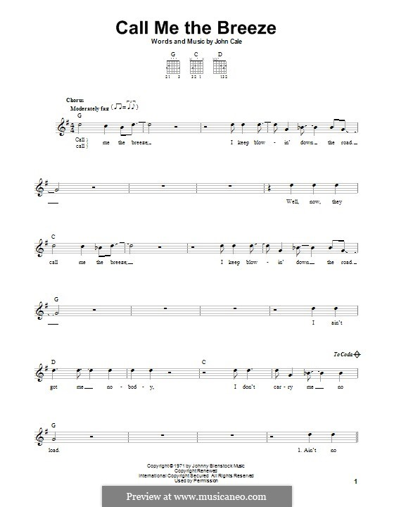 Call Me the Breeze (Lynyrd Skynyrd): For guitar with tab by John Cale