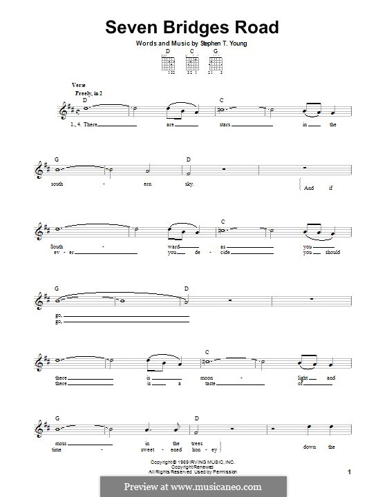 Seven Bridges Road (The Eagles): For guitar with tab by Stephen T. Young