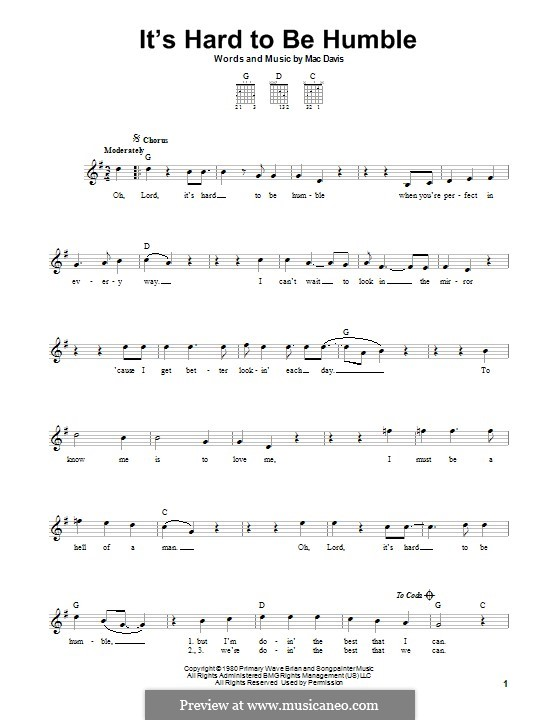 It's Hard To Be Humble: For guitar with tab by Mac Davis