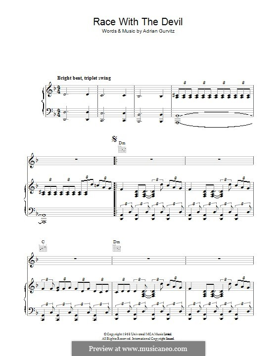 Race with the Devil (Girlschool): For voice and piano (or guitar) by Adrian Gurvitz