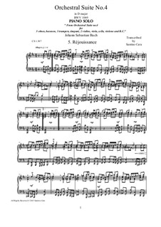 Orchestral Suite No.4 in D Major, BWV 1069: Réjouissance, for piano by Johann Sebastian Bach