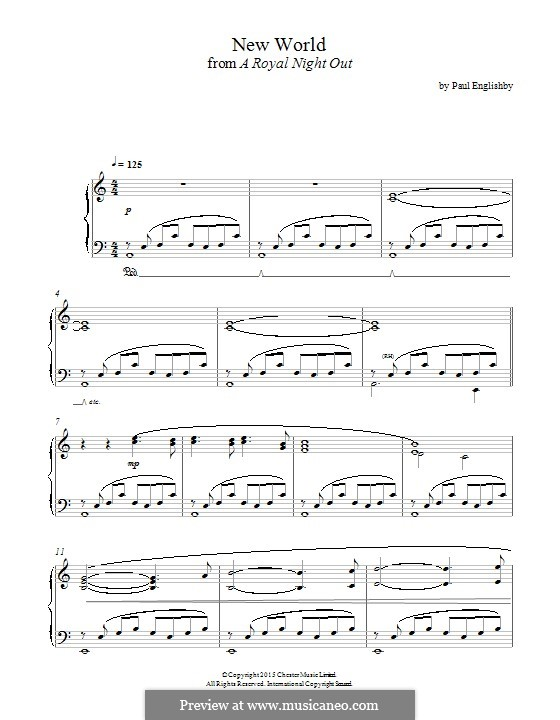 New World (from 'A Royal Night Out'): For piano by Paul Englishby