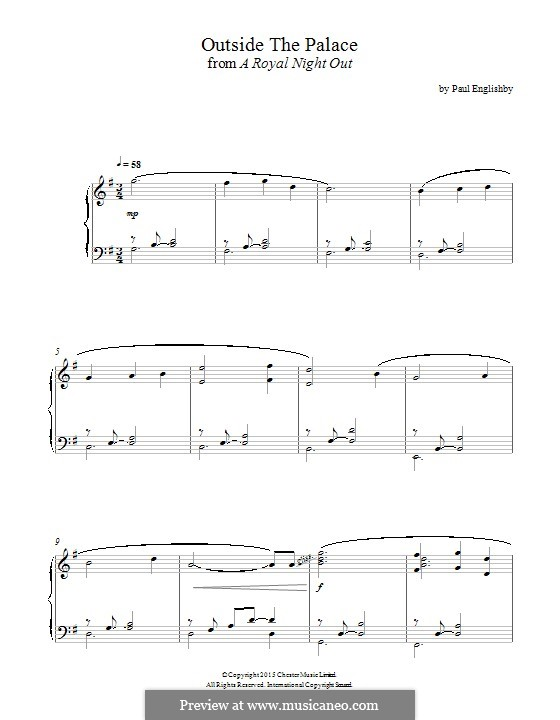 Outside the Palace (from 'A Royal Night Out'): For piano by Paul Englishby
