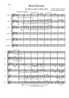 Beati Quorum Via: For flute sextet or flute choir by Charles Villiers Stanford